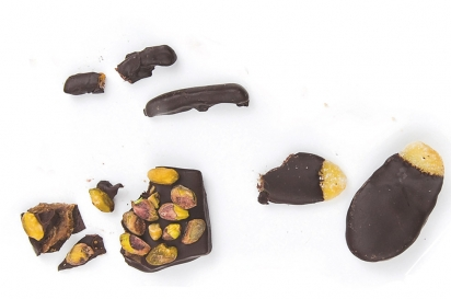 chocolate covered, toffee, candied ginger, candied orange peel, Nutty Stephs