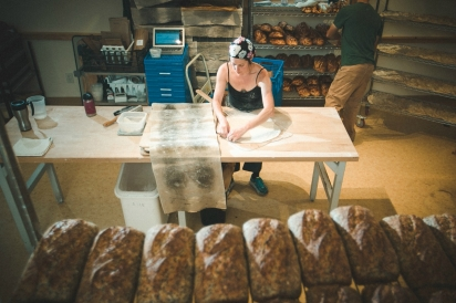 At Green Rabbit Bakery in Waitsfield, Suzanne Slomin uses only organic grains, seeds, and fruit. She maintains a large garden of herbs and greens for her breads and pizzas.