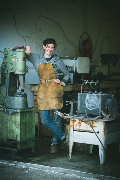 Moriah Cowles in her metal shop.